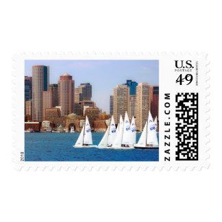 USA, Massachusetts. Boston Waterfront Skyline 4 Postage