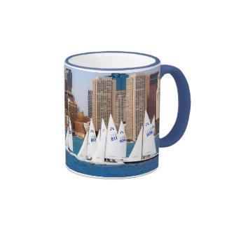 USA, Massachusetts. Boston Waterfront Skyline 4 Ringer Mug