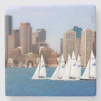 USA, Massachusetts. Boston Waterfront Skyline 4 Stone Coaster