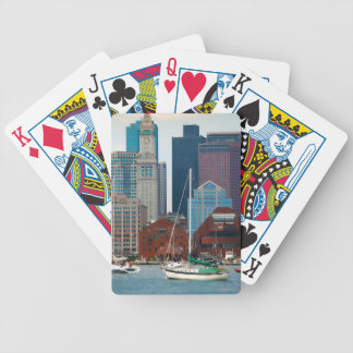 USA, Massachusetts. Boston Waterfront Skyline Bicycle Playing Cards