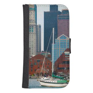 USA, Massachusetts. Boston Waterfront Skyline Galaxy S4 Wallet Case
