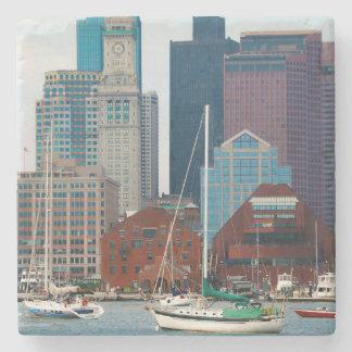 USA, Massachusetts. Boston Waterfront Skyline Stone Beverage Coaster