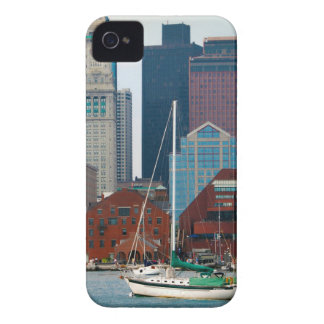 USA, Massachusetts. Boston Waterfront Skyline iPhone 4 Case-Mate Case