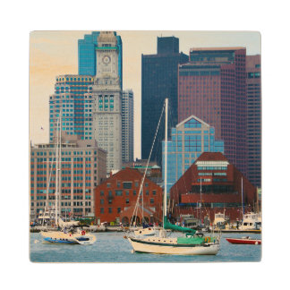 USA, Massachusetts. Boston Waterfront Skyline Maple Wood Coaster