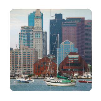 USA, Massachusetts. Boston Waterfront Skyline Puzzle Coaster