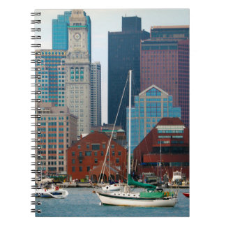 USA, Massachusetts. Boston Waterfront Skyline Spiral Notebook