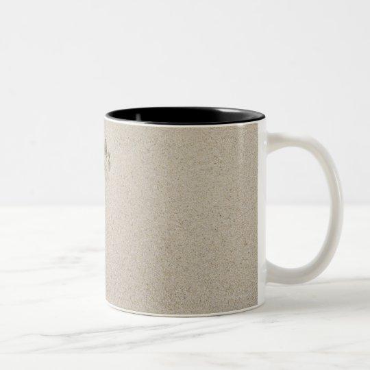 USA, Massachusetts, dog's track on sand Two-Tone Coffee Mug
