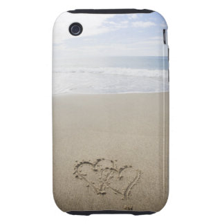 USA, Massachusetts, Hearts drawn on sandy beach 2 Tough iPhone 3 Cover