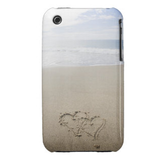 USA, Massachusetts, Hearts drawn on sandy beach 2 iPhone 3 Case-Mate Cases