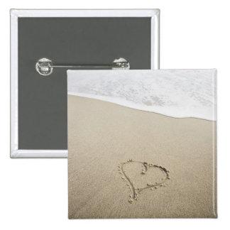 USA, Massachusetts, Hearts drawn on sandy beach 2 Inch Square Button