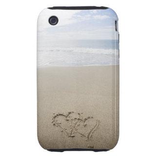 USA, Massachusetts, Hearts drawn on sandy beach 2 iPhone 3 Tough Case
