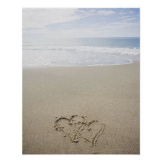 USA, Massachusetts, Hearts drawn on sandy beach 2 Poster