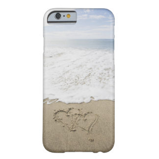 USA, Massachusetts, Hearts drawn on sandy beach 3 Barely There iPhone 6 Case