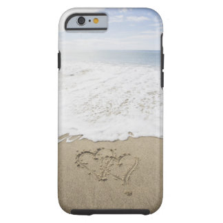 USA, Massachusetts, Hearts drawn on sandy beach 3 Tough iPhone 6 Case