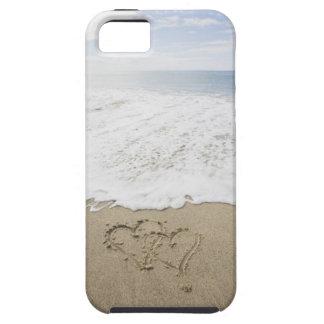 USA, Massachusetts, Hearts drawn on sandy beach 3 iPhone 5 Cases