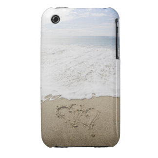 USA, Massachusetts, Hearts drawn on sandy beach 3 iPhone 3 Case-Mate Cases