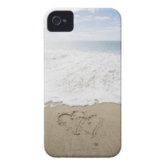 USA, Massachusetts, Hearts drawn on sandy beach 3 Case-Mate iPhone 4 Case