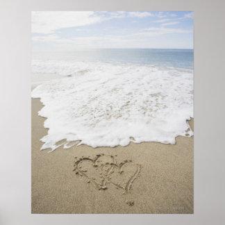 USA, Massachusetts, Hearts drawn on sandy beach 3 Poster
