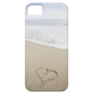 USA, Massachusetts, Hearts drawn on sandy beach iPhone 5 Cases