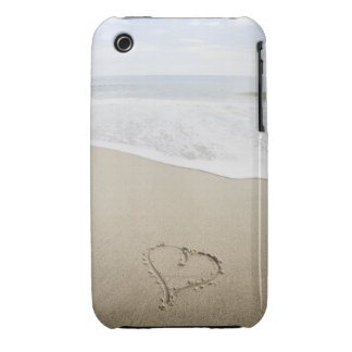 USA, Massachusetts, Hearts drawn on sandy beach iPhone 3 Covers