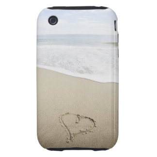 USA, Massachusetts, Hearts drawn on sandy beach iPhone 3 Tough Case