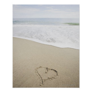 USA Massachusetts Hearts drawn on sandy beach Poster