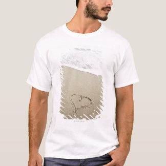 USA, Massachusetts, Hearts drawn on sandy beach T-Shirt