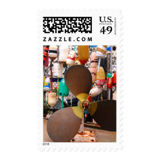 USA, Massachusetts. Propeller And Floats Postage Stamps