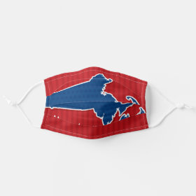 USA Massachusetts State Stars and Stripes Map Cloth Face Mask