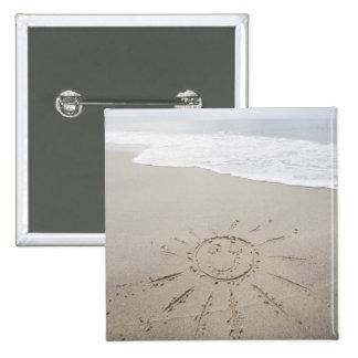 USA, Massachusetts, Sun drawn on sandy beach 2 Inch Square Button