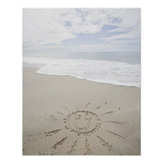 USA Massachusetts Sun drawn on sandy beach Poster