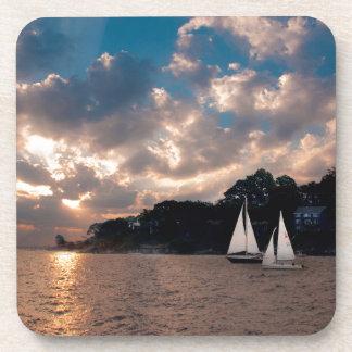 USA, Massachusetts. Sunset Sailing Beverage Coaster