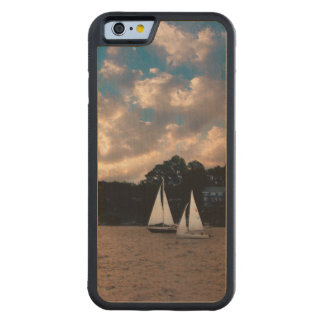 USA, Massachusetts. Sunset Sailing Carved Maple iPhone 6 Bumper Case