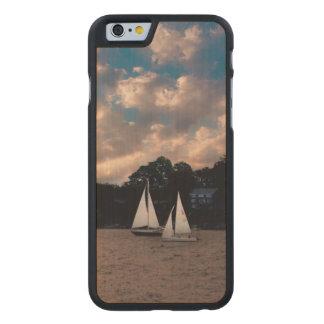 USA, Massachusetts. Sunset Sailing Carved Maple iPhone 6 Case