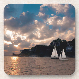 USA, Massachusetts. Sunset Sailing Drink Coasters