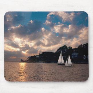 USA, Massachusetts. Sunset Sailing Mouse Pad