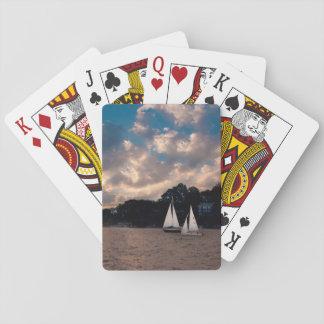 USA, Massachusetts. Sunset Sailing Playing Cards
