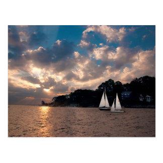 USA, Massachusetts. Sunset Sailing Postcard