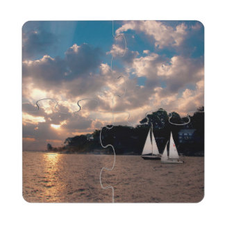 USA, Massachusetts. Sunset Sailing Puzzle Coaster
