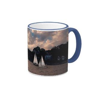USA, Massachusetts. Sunset Sailing Ringer Mug