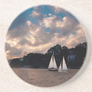 USA, Massachusetts. Sunset Sailing Sandstone Coaster