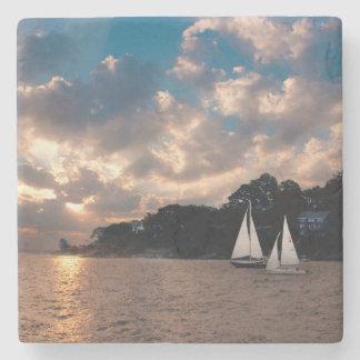 USA, Massachusetts. Sunset Sailing Stone Beverage Coaster