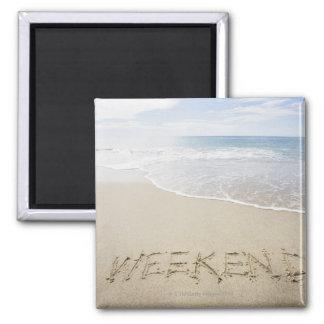 USA, Massachusetts, Word ''weekend'' drawn on Magnet