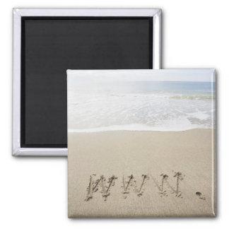 USA, Massachusetts, WWW drawn on sandy beach Fridge Magnets