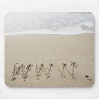 USA, Massachusetts, WWW drawn on sandy beach Mouse Pad