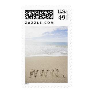USA, Massachusetts, WWW drawn on sandy beach Stamps