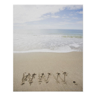 USA Massachusetts WWW drawn on sandy beach Posters
