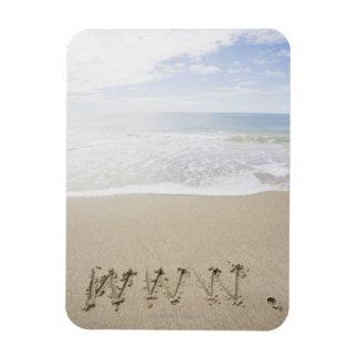 USA, Massachusetts, WWW drawn on sandy beach Rectangle Magnet