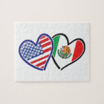 USA Mexico Heart Flags Jigsaw Puzzle