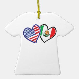 USA Mexico Heart Flags Christmas Ornaments